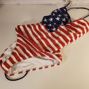 NWOT American Flag lace up back swimsuit